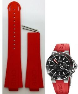 ORIS 733 7730 Aquis Date RED RUBBER watch band strap bracelet 4 24 66 NB