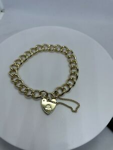 Hallmarked 9ct Gold Curb Charm Bracelet With Padlock And Safety Chain