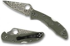 Spyderco NUMBERED Delica Zebra 15 Layer Damascus Foliage Grn FRN Handle C11PFGD4