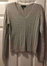 RALPH LAUREN Womens Silver Metallic V-Neck Pullover Sweater Size Petite Large PL
