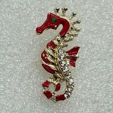 Vintage SEAHORSE BROOCH pin Red Enamel Rhinestone Gold Tone Sea Costume Jewelry