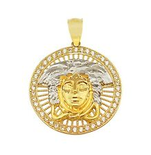 10K Yellow Gold Medusa Pendant Versace Symbol Charm