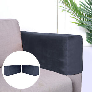 2pcs Sofa Armrest Cover Thickened Stretch Couch Arm Protector Removable Navy