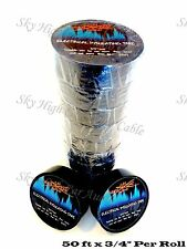 "10 Rolls Sky High Car Audio Electrical Insulating Tape 3/4"" x 50 ft Black"