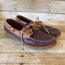 Dooney & Bourke Boat Shoes Tan Burgundy Pebbled Leather Loafers 9.5 Womens