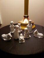 Vintage Fitz & Flloyd Porcelain White 8 Piece Nativity Figurine Set.  FF Mexico