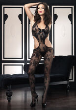 Floral Lace Cut-Out Body Stocking with Satin Ribbon Lace-Up
