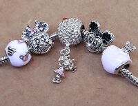Disney Crystal Mickey Minnie Face Pink Floating Mouse Heart European Bead Charms