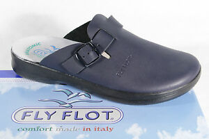 Fly Flot Clogs Sabot Slippers Mules Blue Real Leather New