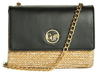 NWT GUESS BLAIRE HANDBAG Black Straw Logo Crossbody Clutch Wallet Purse GENUINE
