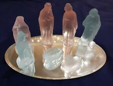 11 peice Frosted Glass Mirror Manger Set Christmas Mangers Angel Decor Nativity