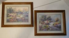 VTG HOME INTERIORS SET OF 2 WOMAN IN FLOWER GARDEN AND COTTAGE PICTURES