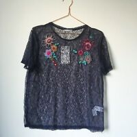 NEW * ZARA Navy Lace Ladies Top T-shirt Blouse M 12/14 floral Embroidery Sheer