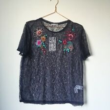ZARA Navy Sheer Lace Ladies Top Tee T-shirt Blouse M UK12 14 Floral Embroidery