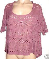 Decree XL Mauve asymmetrical Crochet boat neck see through short sleeve sweater
