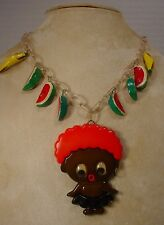 Vintage Celluloid Chain Black American Google Eye Girl & Watermelon Necklace