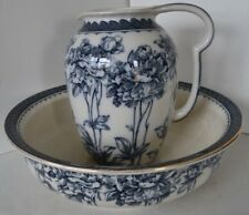 Vintage Pitcher Bowl Flower Peonies Late Meyer Flow Blue Basin Poeny Vanity Set