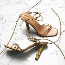 90s Gucci x Tom Ford Strappy Tan Nude Bamboo Heel Sandals Size 8.5