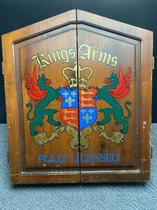 Vintage Kings Arms 1977 Accudart Wooden Dart Board Case Wall Mount Hinged Doors