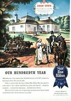 1944 Pabst Blue Ribbon Beer Vintage Print Ad Our Hundrdeth Year 1844-1944