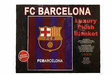 "FC BARCELONA FIFA WORLD CUP LUXURY PLUSH BLANKET BEDSPREAD 79"" X 94"" INC."