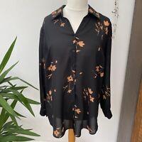 Vintage 90s Floral Long Sleeve Sheer Shirt Blouse Black Orange Sz 18 20