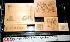 STAMPIN UP JUST A LINE 6 RUBBER STAMPS CLOTHES APRONS HANG IN THERE