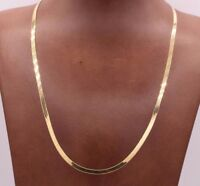 High Polished Herringbone Necklace Chain 14K Solid Yellow Gold 3.0mm ALL SIZES