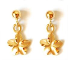"Flower Dangle Earring1/4""(6 mm) E2529-80 14K Solid Yellow Gold Hawaiian Plumeria"
