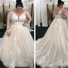 Plus Size V-Neck Wedding Dresses Sheer Long Sleeves A Line Lace Appliques Gown