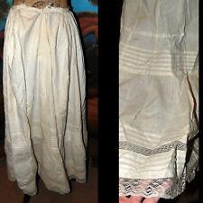 Antique Victorian 1800s Gorgeous Romantic Pleat Lace Dress Flouncy Petticoat tlc
