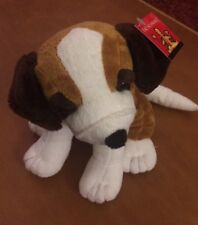 Fao Schwarz Brown, Dark Brown and White Puppy Dog Plush 9""