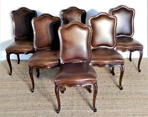 Vintage French Provincial Hamptons style oak and Brown leather dining chairs