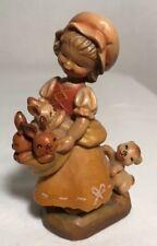 "ANRI Wood Carving ""Bundle Of Joy"" #651615 - 3"" Figurine-Girl W/Bunnies"""