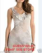 GUESS Theone Top Tie Dye Tunic Semi-Sheer Sleeveless Ruffle Front Size S