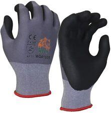 WOLF Work Glove Ultra-Thin Nitrile Foam Grip Palm Coated Nylon Shell Gloves 12Pr