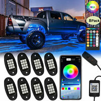 8 Pod RGB LED Rock Lights Offroad Music Wireless Bluetooth Contr