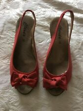 CLARA'S DARK CORAL FAUX MOLESKIN WEDGE HEEL SLINGBACK SANDALS/SHOES PEEP TOE 5