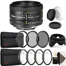Nikon AF FX NIKKOR 50mm f/1.8D Lens for Nikon DSLR Cameras with Accessory Bundle