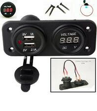 Red Waterproof Panel Mount 12V USB Charger 3.1 Amp + Voltmeter + wires + Fuse