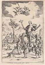 Allegorie Cupido Vanitas Kreuzigung Memento Mori 17.Jh. Allegory Engraving