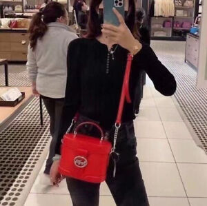 Coach Georgie Pebbled Leather Crossbody Bag Bright Poppy NWTS $350 Super Cute!