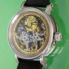 -Walk of the Panther- Custom Skeleton Watch, Vintage Swiss Carved Movt, Cut Dial