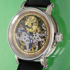 - Paseo del Reloj Esqueleto Panther-Custom, Vintage Suizo Cuadrante Tallada Movt, Corte