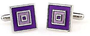 Silver Layered Purple Tunnel Cufflinks Cuff Links