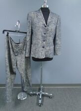 SALVATORE FERRAGAMO Blue Cream Textured Wool Blend Pant Suit Size 12 DD3194
