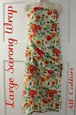 Sarong Beach Wrap: Floral Rose Sheer Cotton Ladies Women Cover Travel Scarf Thro