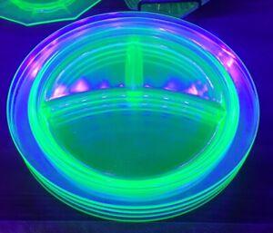 """Set of 4 Uranium Vaseline Glass Divided Dinner Plates / Platters 10.5"""" + Bonus"""
