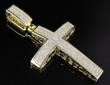 Jewelry Unlimited 10K Yellow Gold Real Diamond Dome Cross Pendant - Gold