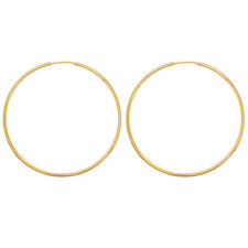 18k Gold Plated Plain Classic Thin Endless Hoop Earrings for Women 65mm